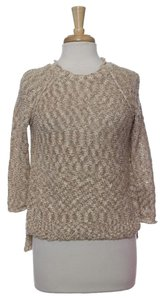 Ellen Tracy Marled Ombre Color Gradient Knit Cream Natural Hem Crew Neck Texture New With Tags Nwt Clearance Sweater
