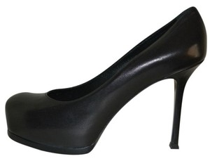 Saint Laurent Patent Leather Hidden Platform Tribtoo Tribute Black Pumps