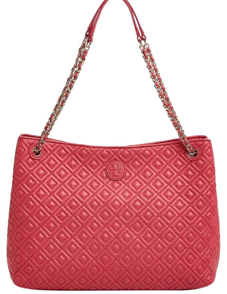 Tory Burch Marion Quilted Dark Peony Leather Tote Tradesy