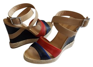Longchamp Finca Luisa Leather Espadrille Multi Wedges