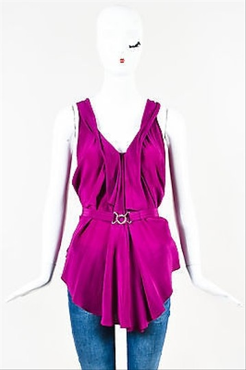 2f064a54dad16 Balenciaga Purple Silk Belted Sleeveless Pleated Blouse durable modeling