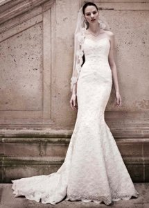 Oleg Cassini Oleg Cassini Strapless Sweetheart Beaded Lace Trumpet Wedding Dress