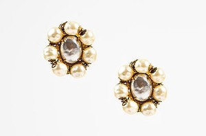 Miriam Haskell Miriam Haskell Gold Tone Faux Pearl Clustered Clip On Earrings