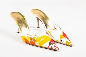 Dolce&Gabbana White Floral Printed Canvas Pointy Toe Heels Multi-Color Mules