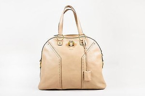 Saint Laurent Yves Gold Tote in Beige