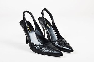 Prada Leather Ruched Black Pumps