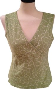 Croft & Barrow Sleeveless Surplice Neckline Top Green and white
