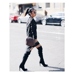 Public Desire Thigh High Long Blacm Boots