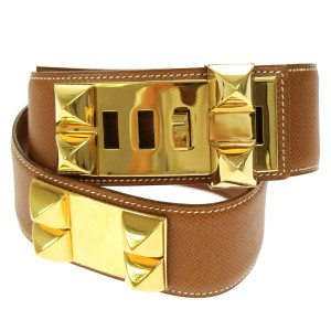 Hermès Vintage 80 CM Authentic Hermes Collier de Chien Belt Gold plated