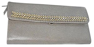 Red Envelope Leather Silver Suede Rhinestone Trim Jewelry Case pewter Clutch