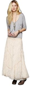 Free People Lace Bohemian Vitorian Maxi Skirt Ivory
