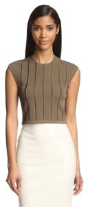 Torn by Ronny Kobo Crop Metallic Striped Top Olive