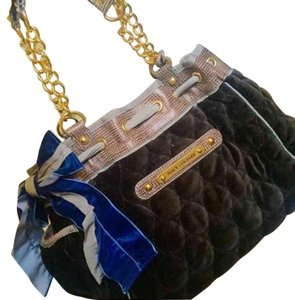 Juicy Couture Vintage Velvet Gold Hardware Fall Silk Ribbon Shoulder Bag