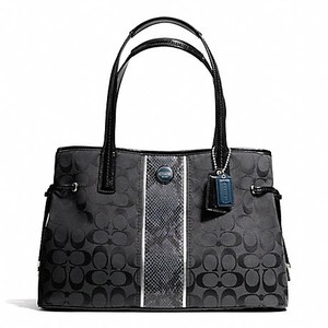 Coach Signature Khaki Handbag Python Carryall Tote in SILVER/BLACK GREY/BLACK