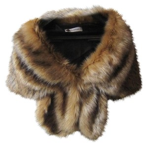 animal faux fur bown or gray shawl wrap shug winter vest coat jacket