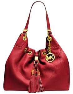 Michael Kors Leather Drawstring Tote Shoulder Bag