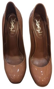 Saint Laurent Ysl Tribtoo Leather Patent Leather NUDE Pumps