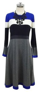 Jessica H short dress Grey, Black, Blue Knitted Striped Longsleeve Fit And on Tradesy