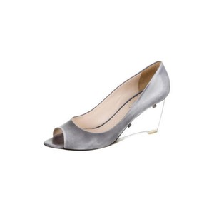 Prada Lucite Distressed Silver silver/grey Wedges