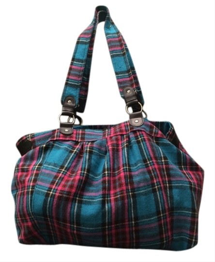 Merona Flannel Tote in turquoise/black/hot pink plaid
