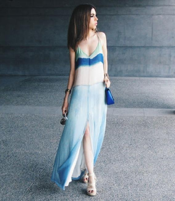 Blue and Green Maxi Dress by Zara Tie Dye Ombre Maxi Watercolor