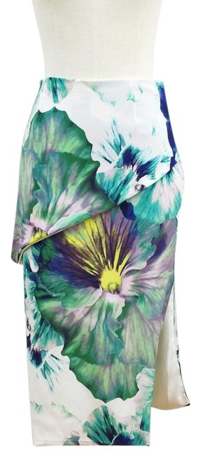 Item - Multicolored Pansy Watercolor Floral Pencil Skirt Size 4 (S, 27)
