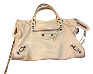 Balenciaga Classic Leather Ivory Satchel in Beige