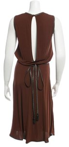 Dsquared2 Leather Trimed Open Back Stretchy Dress
