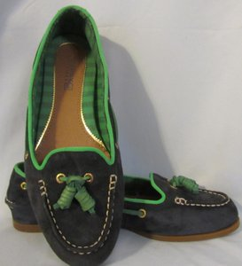 Sperry Loafer Topsider Suede navy with green trim Flats