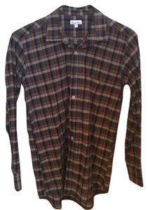 Steven Alan Button Down Shirt Navy and grey plaid.