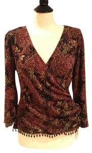 Dress Barn Dressy Surplice Wrap Top Black/Multi