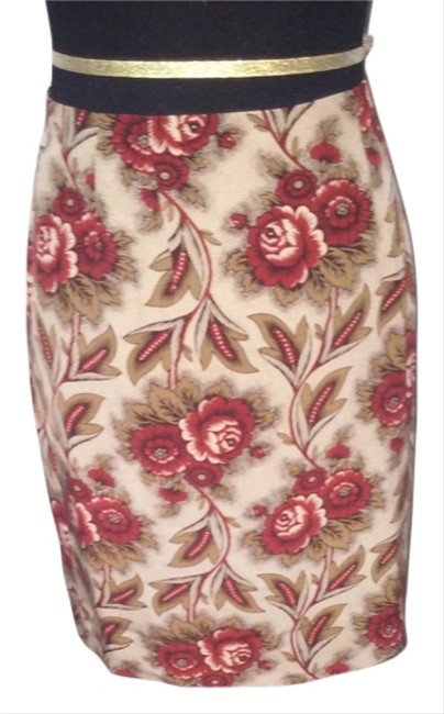 Charter Club Floral Floral Brown Red Short Mini Skirt multi color