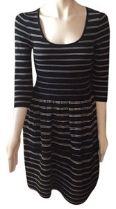 Anthropologie Vintage Style Scoop Neck 3/4 Sleeve Striped Dress