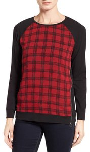 Vince Camuto Mixed Media Top Black and Red