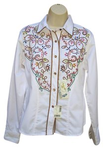 Panhandle Slim Western Embroidered Snap Button Down Shirt White