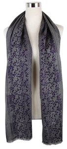 Bottega Veneta New Bottega Veneta Gray Purple Wool Silk Floral Long Scarf 298564 1270