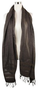 Bottega Veneta New Brown Cashmere Silk Long Scarf Leather Detail 308347 2500