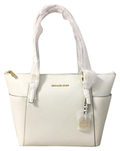 8f14c4d9fd8362 Michael Kors East West Zip Top Jet Set Travel Saffiano Leather Tote in Optic  White