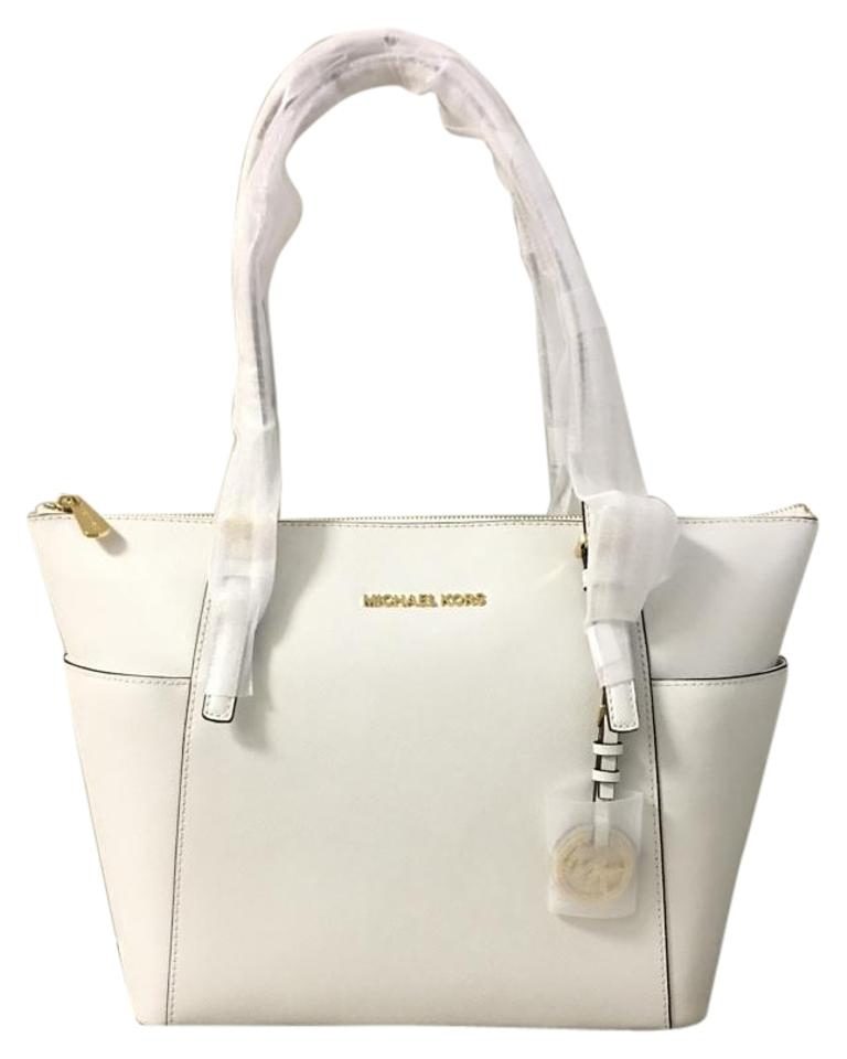 5afd58f0239b Michael Kors East West Zip Top Jet Set Travel Saffiano Leather Tote in  Optic White Image ...