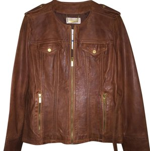 MICHAEL Michael Kors Cognac Leather Jacket