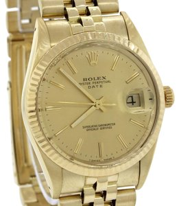 Rolex Rolex Date 15037 34mm Solid 14K Gold Champagne Watch DateJust w/ Box