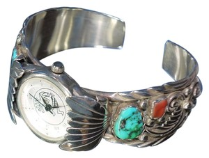 Sterling Silver Signed Cuff Bracelet Navajo Watch