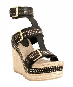 Alexander McQueen Pelle S.gomma Wedge Studded Black Wedges