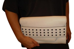 MILLY Studded Cute As Or Crossbody Very Roomy Inside White/Black Clutch