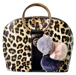 bebe Satchel in Black Leopard (Brown and White)
