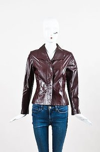 Chanel Burgundy Rose Gold Leather Cut Out Red Jacket