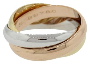 Cartier Cartier 18k White Yellow & Pink Gold Trinity Band Ring 56 with Box