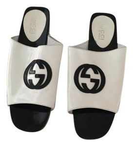 Gucci White with black GG Mules