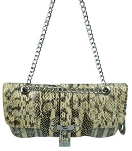 Rafe Snakeskin Brown & Beige Clutch