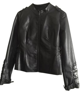 Blanc Noir Faux Leather Military Military Jacket